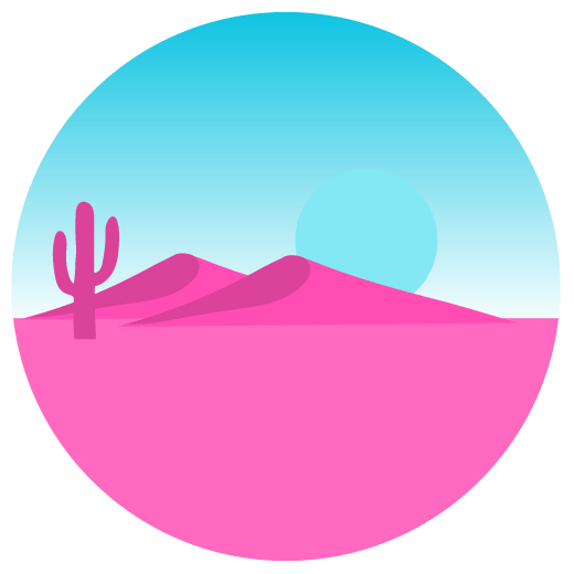 illustration of a pink and blue desert landscape
