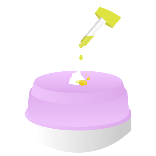 illustration of the pump top of Lala Moisturizer with a pump of Lala and drops of Marula Oil being dispensed from the dropper