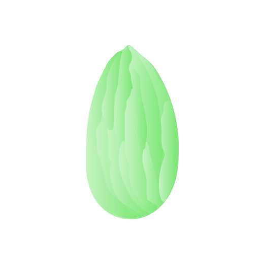 illustration in green of an almond nut