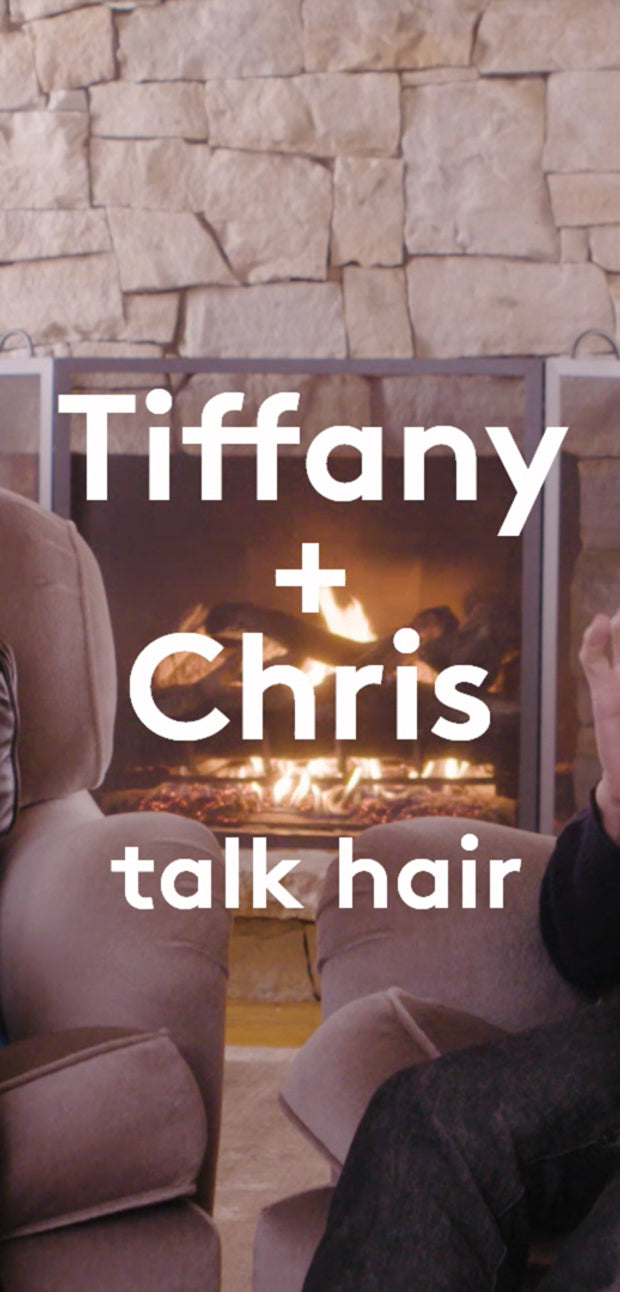 video of Drunk Elephant founder Tiffany Masterson talking to celebrity hairstylist Chris McMillan in front of a cozy fireplace