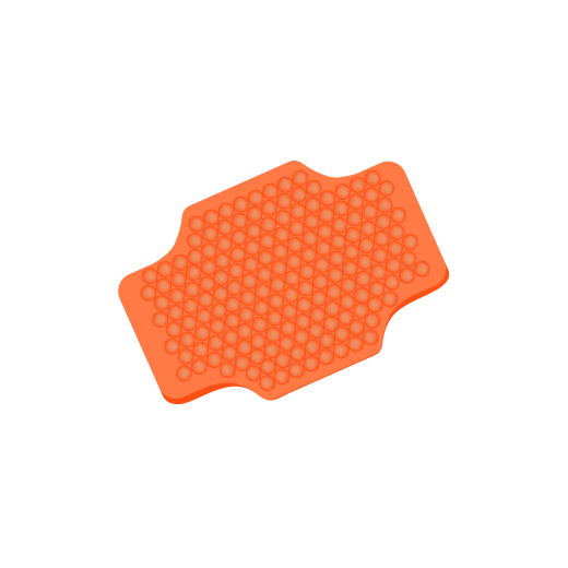 graphic of bright orange silicone body brush