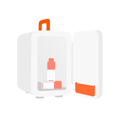 illustration of a makeup refrigerator open with two C-Tango bottles inside