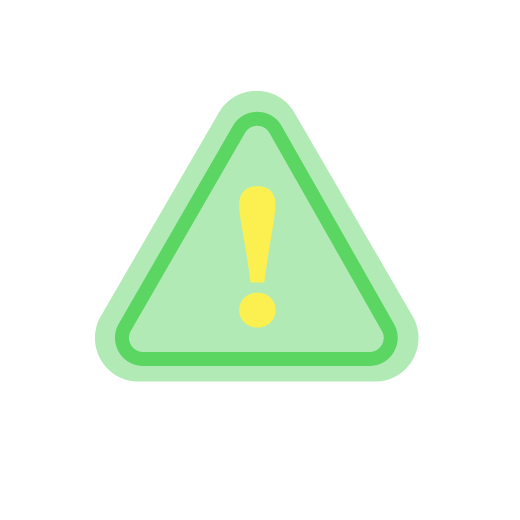 illustration of a triangular caution sign in green
