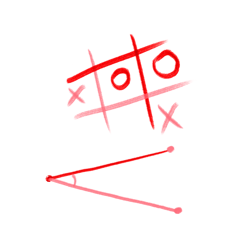 Illustration of an angle and tic tac toe board