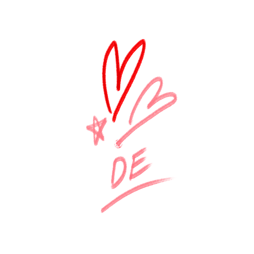 Illustration of hearts and 'DE'
