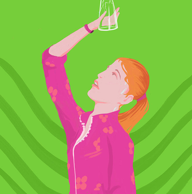 Illustration of a woman looking up into an empty cup