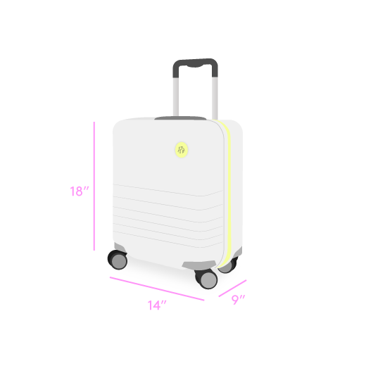 "illustration showing the dimensions of the roller bag component of the kit as 9"" x 14"" x 18"""