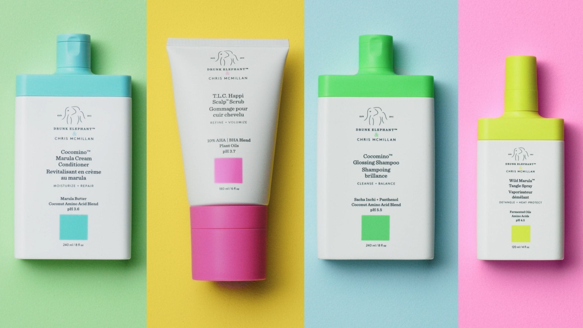 image showing conditioner, scalp scrub, shampoo and marula tangle spray products on a colorful background