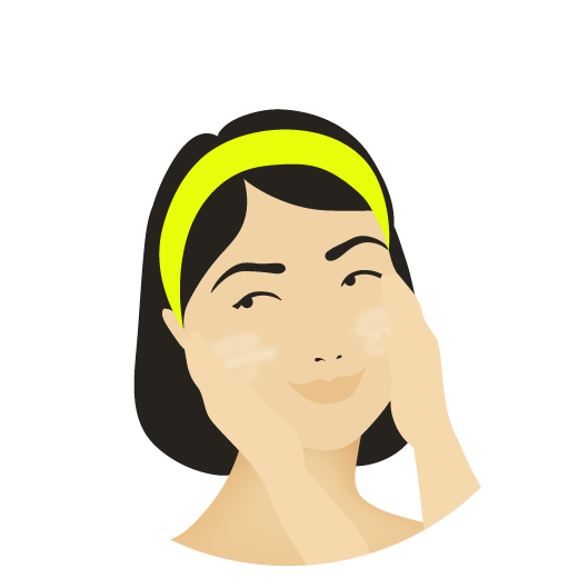 illustration of a woman applying product to her face with her hands