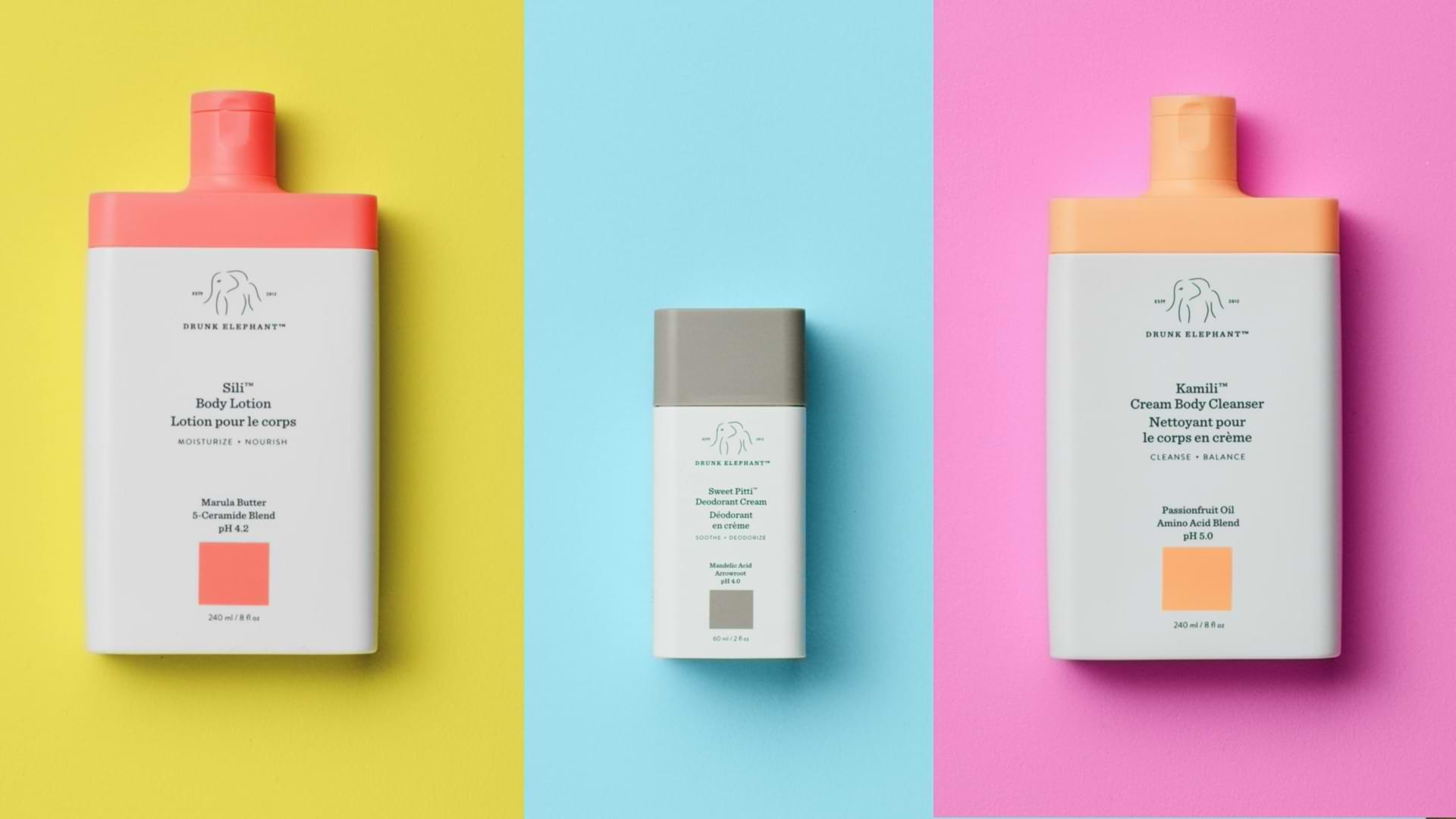 video introducing the entire body line at Drunk Elephant, including Sili body lotion