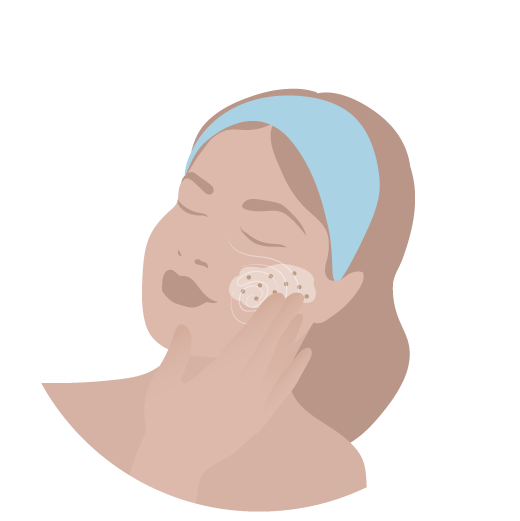Illustrated image of girl with blue headband gently exfoliating skin.