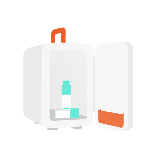 illustration of a makeup refrigerator open with two bottles of Shaba inside