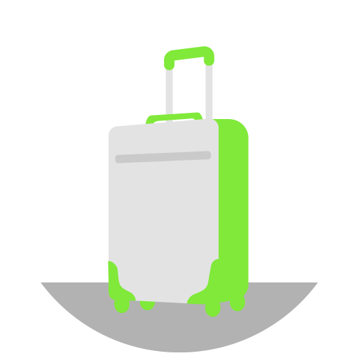Illustrated grey and green rolling suitcase