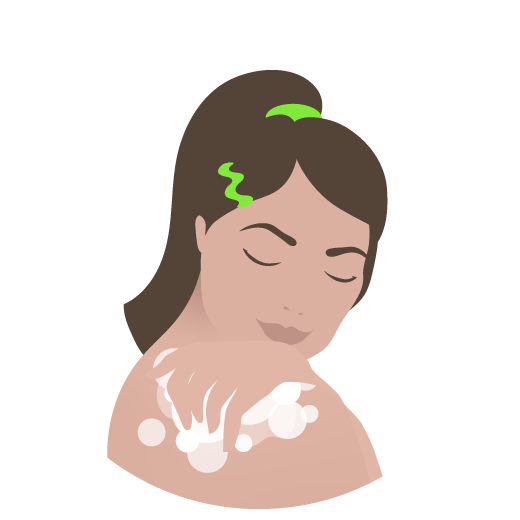 Illustrated drawing of woman with green hair tie using juju bar to exfoliate shoulder