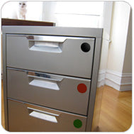 Big Metal Drawers Marked with Color