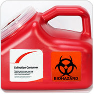 Permanent Biohazard Sticker on Container