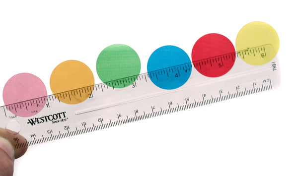 One Inch Diameter Translucent Dots on Ruler