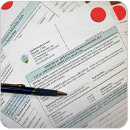 Red Stickers On Legal Papers