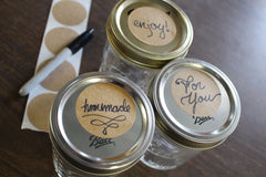 kraft labels on mason jar lids