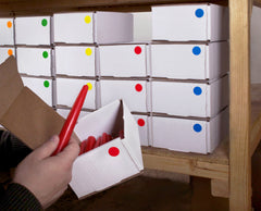 Labeling boxes of inventory in warehouse