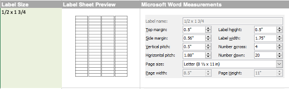 sizes for mail merge