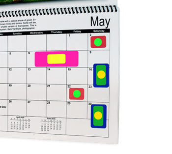 Colored labels on calendar denoting events