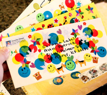 Assorted Colored Dots on Mailing