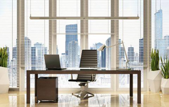Tidy Office Work Space with Skyline view