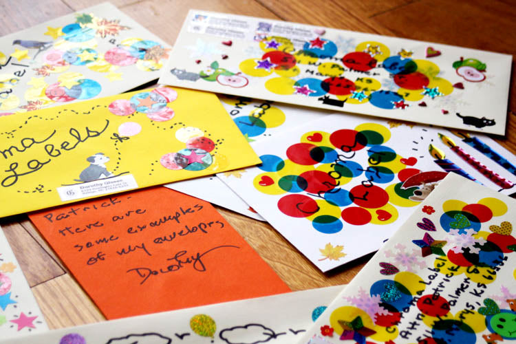 White Mailings with Colored Dot Stickers