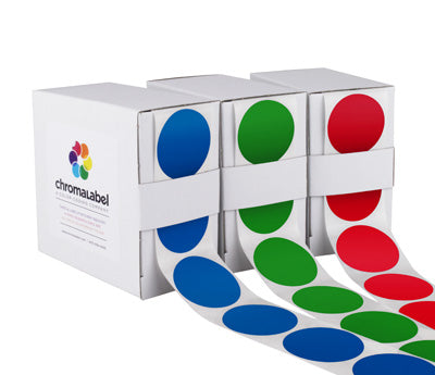 """1-1/2"""" Permanent Round Color-Code Round Dot Inventory Labels: 500/Box - Standard: Red"""