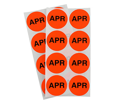"1.5"" Neon Red April Month Labels"