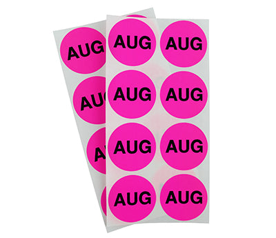 "1.5"" Neon Pink August Month Labels"