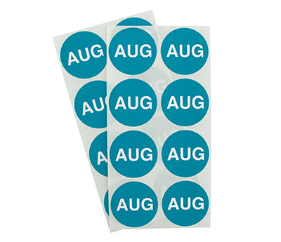 "1.5"" Teal August Month Labels"