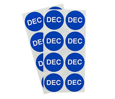 "1.5"" Dark Blue December Month Labels"