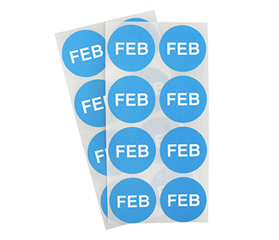 "1.5"" Light Blue February Month Labels"