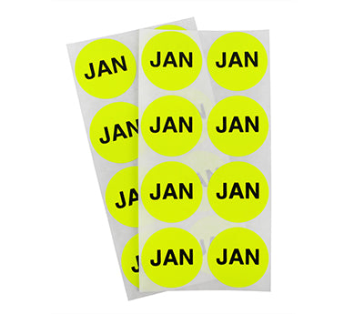 "1.5"" Neon Yellow January Month Labels"