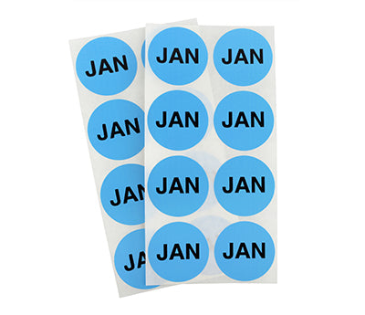 "1.5"" Light Blue January Month Labels"
