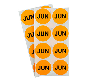 "1.5"" Neon Orange June Month Labels"