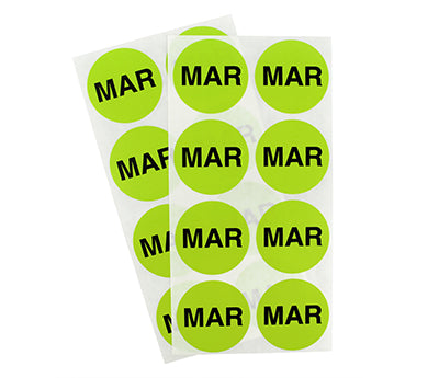 "1.5"" Chartreuse March Month Labels"