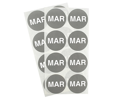 "1.5"" Gray March Month Labels"