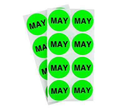 "1.5"" Neon Green May Month Labels"