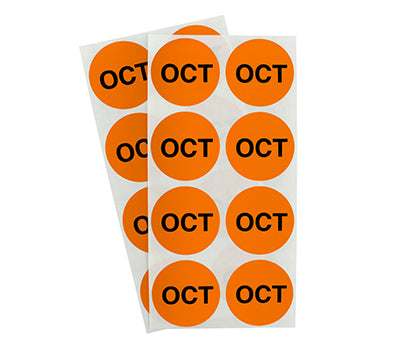 "1.5"" Orange October Month Labels"