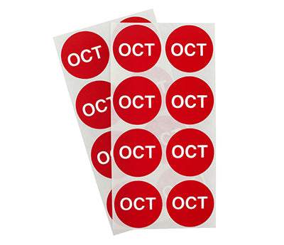 "1.5"" Red October Month Labels"
