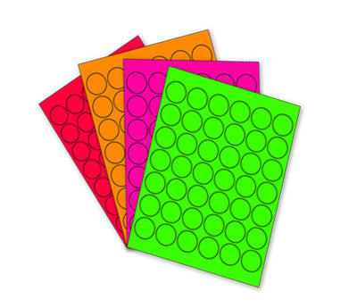 "1-1/4"" Printable Circle Labels  Neon Variety Pack: 24 She..."