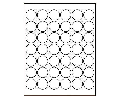 125 in Round Printable White Dot Labels for LaserInkjet1050 – Large Label Template