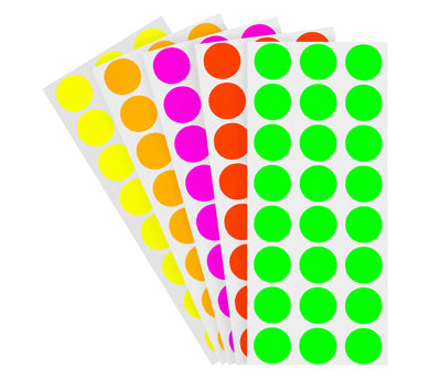 1-2 inch Assorted Fluorescent Removable Stickers on a Liner