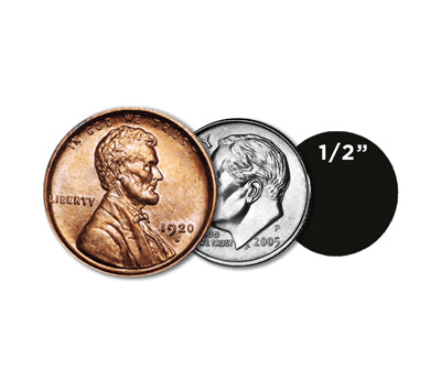 "0.5"" Dots Size Compared to Coins"