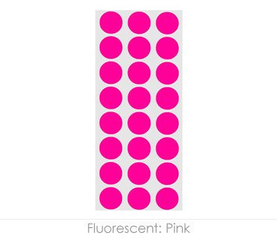 "0.5"" Neon Pink Round Labels on Sheets"