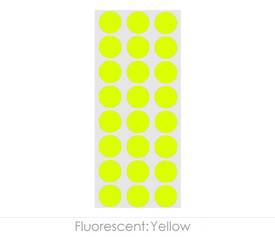 "0.5"" Neon Yellow Round Labels on Sheets"