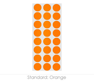 "0.5"" Orange Round Labels on Sheets"